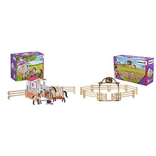 SCHLEICH Horse Stall with Arab Horses & Groom & Paddock with Entry Gate