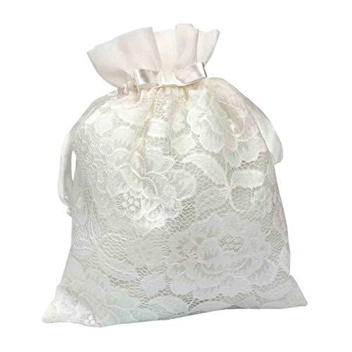"""Elegante Bolsa Limosnera Artesanal Decorativa para Novia""""Blanca de Encaje"""". Bolsos y Complementos. Regalos Originales. Detalles de Bodas, Comuniones, Bautizos. CC"""