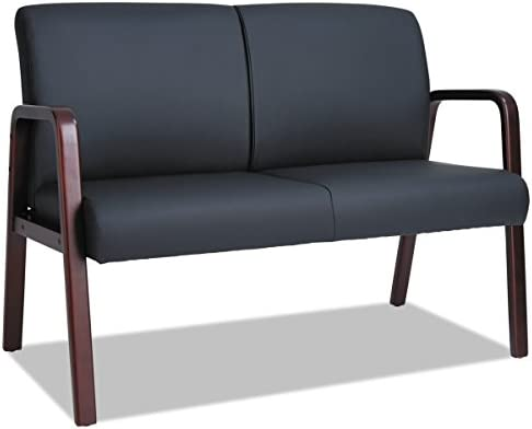 Best Alera Reception Lounge Series Wood Loveseat, 44 7/8 x 26 1/8 x 33, Black/Mahogany