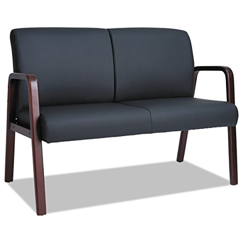Alera Reception Lounge Series Wood Loveseat, 44 7/8 x 26 1/8 x 33, Black/Mahogany
