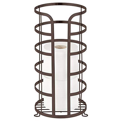 mDesign Soporte para el papel higiénico de pie – Portarrollos de baño de metal para 3 rollos de repuesto – Porta rollos de papel higiénico sin taladro para el baño o el aseo – color bronce