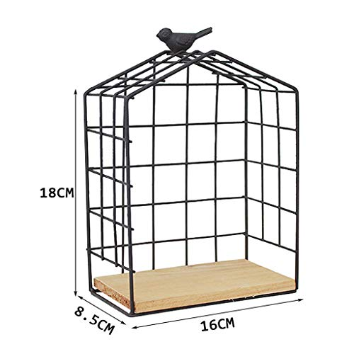 LIBOYUJU Nordic style bird cage wall mount storage rack room wall background decorative float wrought iron,M