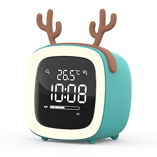 MLSH Cartoon Alarm Clock Mignon Voix Intelligent Sensor Petit électronique Alarme Réveil Muet Nuit Lumineux Horloges étudiants Chambre personnalité créative Lazy Enfants Réveils (Color : Green)
