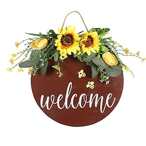 RRunzfon Bienvenido Colgar de la Pared Girasol Signo Positivo de la Guirnalda de la Flor de Abeja Muestra Colgante decoración del festivaljardín al Aire Libre, Decoraciones del jardín