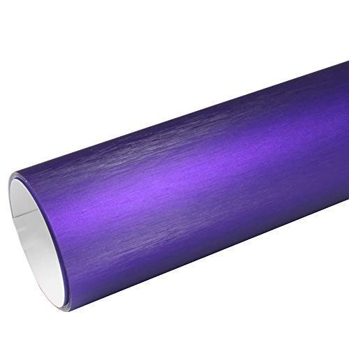 Rapid Teck® 8,55€/m² AutoFolie Serie z560 Chrom 3D Brushed Purple 1m x 1,52m Alu gebürstet selbstklebende Premium Car Wrapping Folie mit Luftkanal