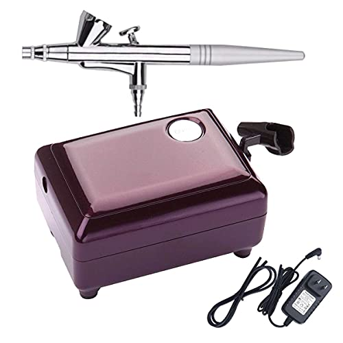 Airbrush Makeup Kit, Cosmetic Makeup Airbrush and Compressor System for Face Nail Painting Temporary Tattoos Cake Decorating (Purple)