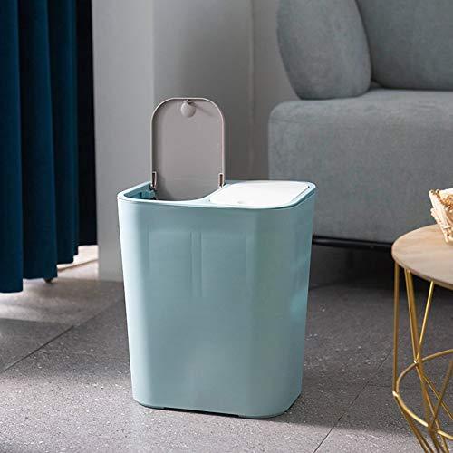 Cubo de Basura Doble con Tapas, Basurero de Reciclaje con 2 Compartimentos, Papelera de Separación Seca y Húmeda, Plástico, 29x21x33cm - Azul