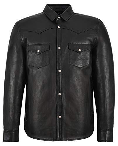 Herren 6552 schwarz verstellbaren Kragen lässig Retro weichen echten Leder-Shirt Jacke (XL)