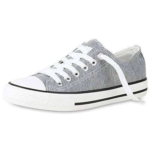 SCARPE VITA Damen Sneaker Slip Ons Turnschuhe Nieten Glitzer Slipper Leder-Optik Schuhe Freizeitschuhe Flats Schlupfschuhe 159292 Grau 37