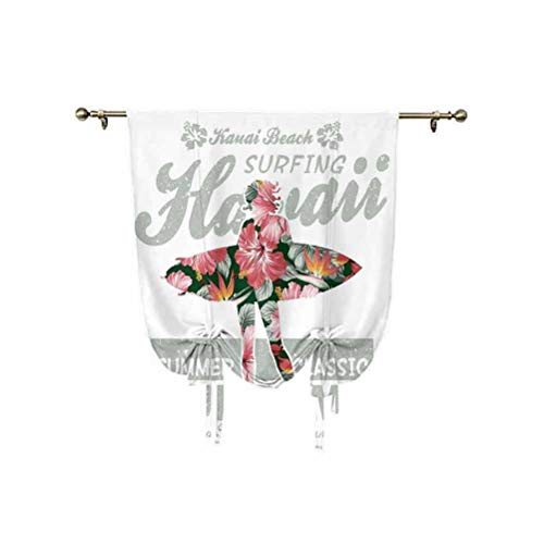 Tenda hawaiana a pannello con motivo geometrico hawaiano, con motivo geometrico, con stampa artistica, termica, oscurante, per soggiorno, soggiorno, cortina romana, corallo