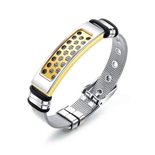 WY-wristband Accessori per Terapia Magnetica in Silicone da Uomo con Cinturino in Titanio