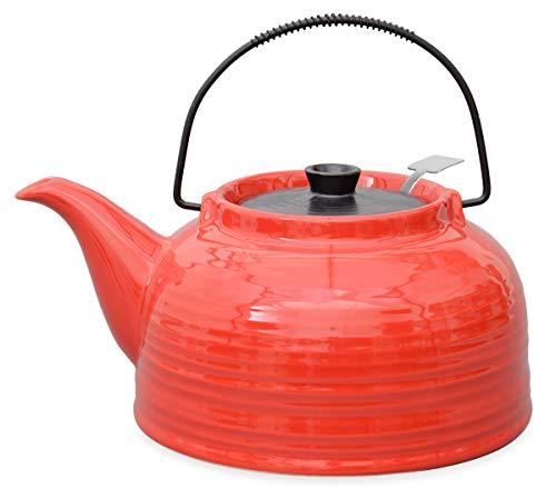 """Teekanne """"Nelly"""". Moderne Teekanne 1,5 Liter in rot aus hitzebeständiger Keramik mit Edelstahlfilter."""