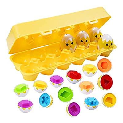 CANSHOW Matching Egg Set - Toddler Toys - Toddler Games-Educational Color & Shapes & Fine Motor Skills Learning Toy - Toddler boy Toys-Toddler Girl Toys-Easter Eggs Gift Ages 6 Months & up (12 Eggs)