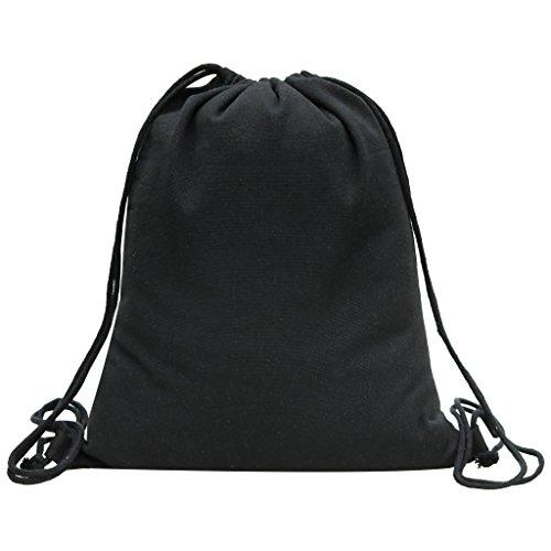 Canvas Turnbeutel Sportbeutel Rucksack Schultaschen Shopping Backpack Schwarz