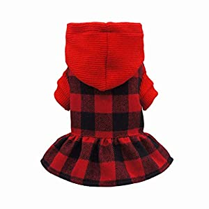 Fitwarm Knitted Plaid Dog Dress Hoodie Sweatshirts Pet Clothes Sweater Coats Cat Outfits Red XS