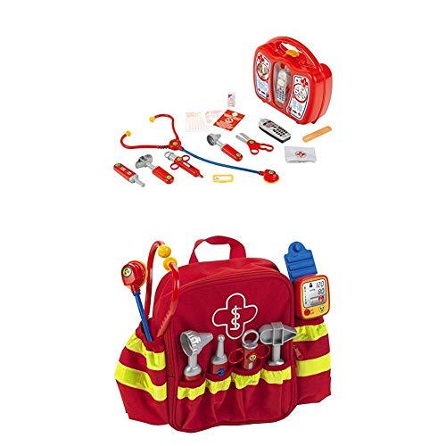 Theo Klein 4350 - Arztkoffer mit Handy + Rescue backpack, Rettungs-Rucksack, Spiel