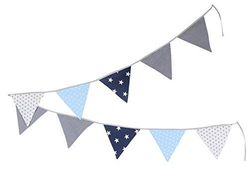 Guirnalda de banderines de ULLENBOOM  con azul claro azul gris (guirnalda de tela: 3,25 m; 10 banderines; decoración para la habitación de los niños; fiestas de bienvenida para bebés)