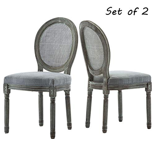 ZHENGHAO French Country Round Cane Back Dining Chairs Set of 2, Farmhouse Retro Kitchen Chairs, Distressed Wood Chairs for Dining Room/Living Room/Bedroom (Soft Gray)