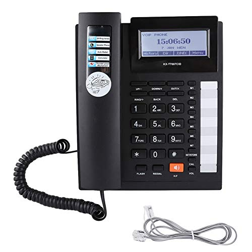 Socobeta Telefono Fisso Telefono Fisso Telefoni Pulsanti Grandi Set di Estensione Telefono con Filo con Vivavoce con Display LCD(Nero)