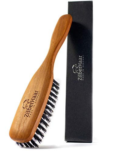 ZilberHaar Long Hair & Beard Brush - Made from Stiff First Cut Boar Bristles and High Quality Pearwood - Perfect Skin Care for Men - Works with All Beard Balms and Beard Oils