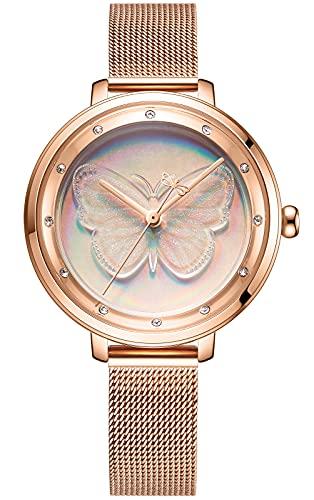 CIVO Reloj de pulsera para mujer resistente al agua, correa de piel, reloj de pulsera de acero inoxidable, elegante, informal, analógico, de cuarzo, para mujeres y niñas, 2 oro rosa.,