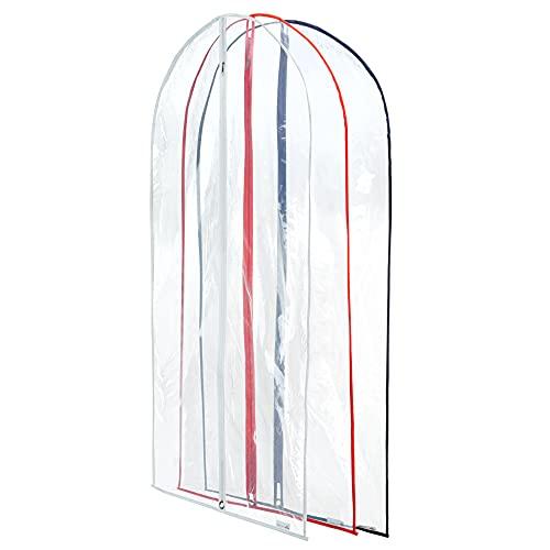 Hangerworld 12 Fundas para Ropa 102cm Impermeable Transparente Cremallera y Bordes en Colores Variados