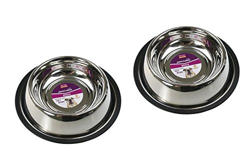Set with 2 Anti Skid Pet Bowl for Dog & Cat 850ml Stainless Steel 25cm