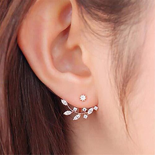 Jixing Kristall Ohrringe Strass Blätter Ohrstecker Vorne und Hinten Earbob, Zinklegierung, Gold