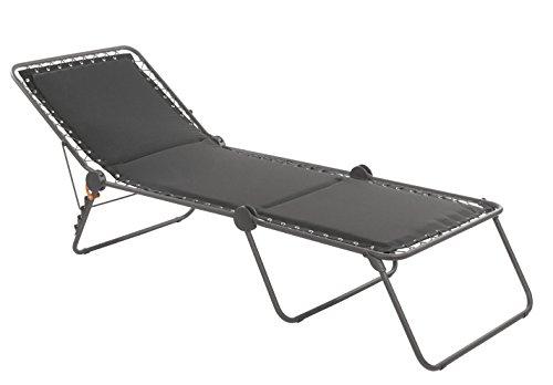 Lafuma Sonnenliege, Klappbar mit verstellbarem Rückenteil, Mit Schnürsystem, Siesta L, Polyester/Baumwolle, ardoise (grau)