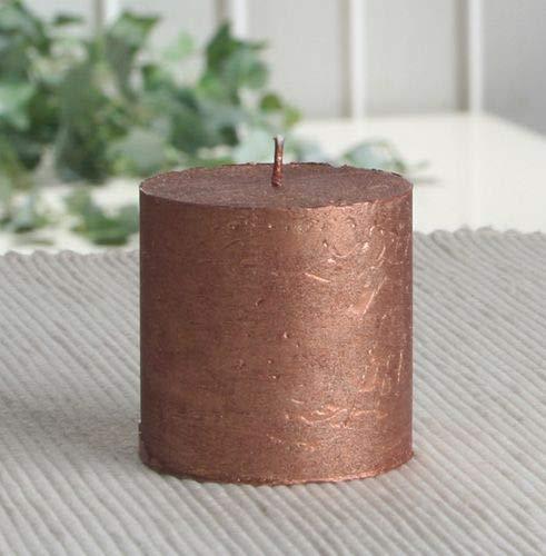 Rustik-Stumpenkerze, 5 x 5 cm Ø, Kupfer-metallic