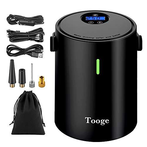 Tooge エアコンプレッサー 電動 空気入れ 電動エアコンプレッサー 電動エアポンプ 電動バイク 空気入れ 60s快速充填 自転車/自動車//ボールに適用 1年保証 多様な充電方式 低騒音 自立タイプ