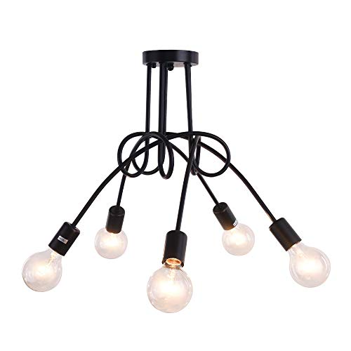 OYIPRO Vintage Deckenleuchte 5-flammig Deckenlampe Kronleuchter Licht Industriellampe E27 Lampenfassung für Wohnzimmer Schlafzimmer Esszimmer Flur Bar Café Restaurant