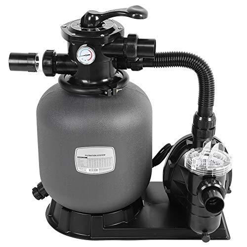 Pompa Piscina Sabbia, Flusso Massimo 72 lpm 4,32 m³ / h, 28 psi, Volume Sabbia 20 kg, Volume Testata 0,02 m³, Sistema di filtraggio a Sabbia per Piscina(EU 220V)