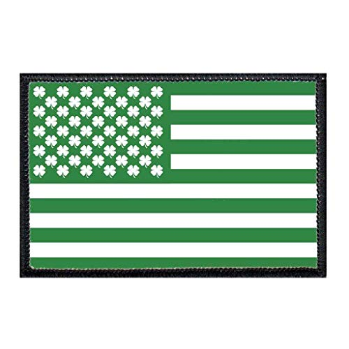 Shamrock Flag Morale Patch   Hook and Loop Attach for Hats, Jeans, Vest, Coat   2x3 in   by Pull Patch
