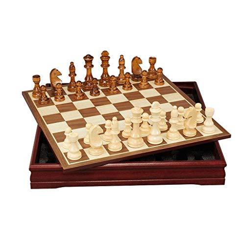 NZKW Ajedrez Juego de ajedrez de Madera - Juegos de Tablero de ajedrez de Viaje portátiles con Ranuras de Almacenamiento de Piezas de Juego - Gran Juego de ajedrez de Regalo de Juguete