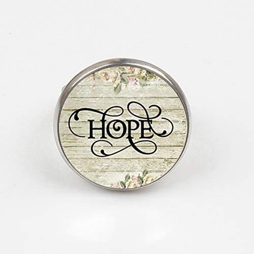 """Anello con ciondolo, anello con scritta in lingua inglese """"Hope"""", regalo di ispirazione, ciondolo di sopravvivenza"""