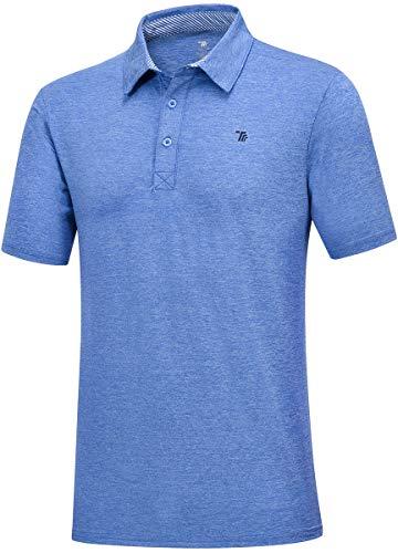 Jinshi Homme Polo Shirt Manches Courtes Tennis Golf Poloshirt d'Eté Sport Stretch T-Shirt Bleu de...