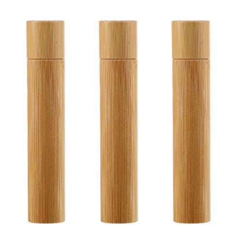 Minkissy 3 Piezas Mini Botellas de Rodillo de Aceite Esencial de Bambú Botella de Perfume Vacía de Madera Contenedor de Aceite Cosmético Recargable para Viaje Comestic 10Ml