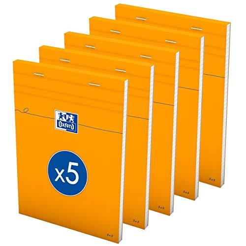 OXFORD Lot de 5 Bloc-Notes Orange A5 Petits Carreaux 5mm 80 Feuilles Agrafées Couverture Carte Enduite Orange