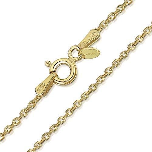 Amberta 925 Sterlingsilber Vergoldet 18K Damen-Halskette - Erbskette - Rolo Kette - 1.3 mm Breite - Verschiedene Längen: 40 45 50 55 60 70 cm (50cm)