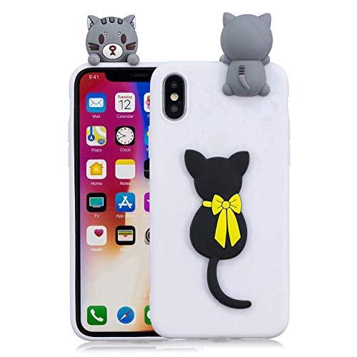 MUTOUREN 3D Cartton koffer, Kat, iPhone XS Max