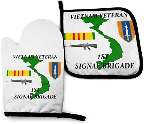 Keyboard cover ~ 1st Signal Brigade Vietnam Veteran Ofenhandschuhe und Topflappen Sets Kochhandschuhe Backhandschuhe zum Grillen Kochen Backen Grillen