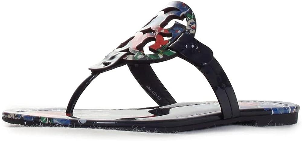 Tory Burch Women's Metal Miller Sandals Flats in Croco Emboss