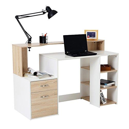 HOMCOM Computer Desk PC Table Modern Home Office Writing Workstation Furniture...