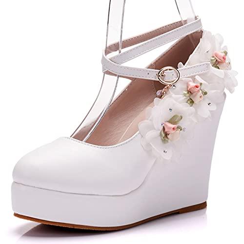 HOYOCE Zapatos De Boda para Mujer, Cuñas, Zapatos De Novia con Punta...