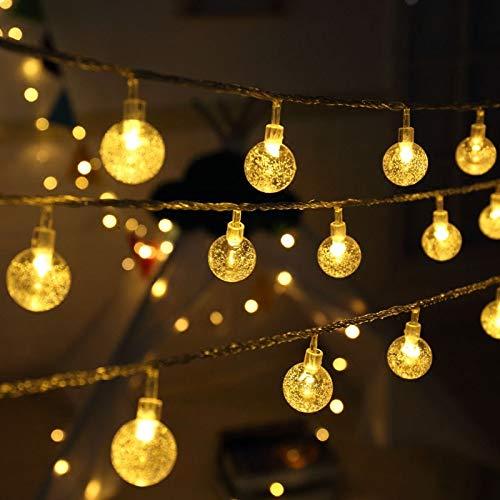 Olliwon Catena Luminosa Esterno, 50 LED Lucine Led Decorative 10m IP44 Impermeabile Filo Luci Esterno a Batteria per Addobbi Matrimonio, Giardino, Gazebo con 8 Modalità Luminose