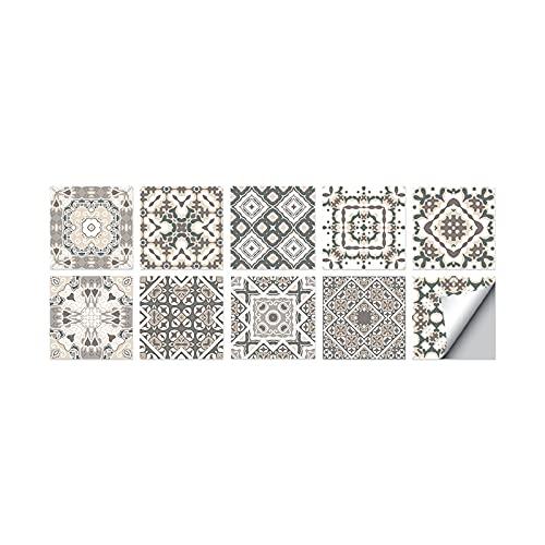 Baldosas pegatinas pared del arte de la etiqueta auto-adhesivo de la decoración de azulejos Adhesivos, Tipo 04, 15cmx15cm 10Pcs