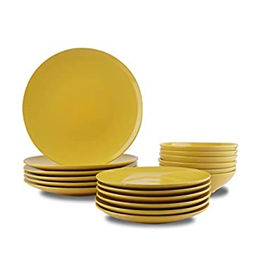 AmazonBasics 18-Piece Stoneware Dinnerware Set - Sunshine Yellow, Service for 6