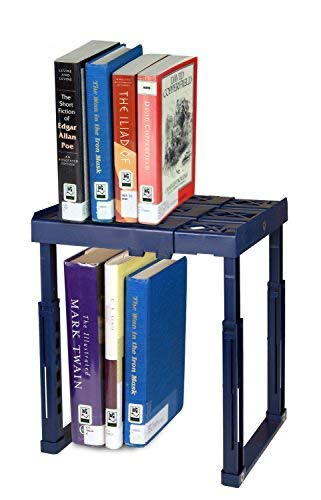 """Tools for School Locker Shelf with Adjustable Width 8"""" - 12 1/2"""" and Height 9 3/4"""" - 14"""". Stackable and Heavy Duty. Ideal for School, Work and Gym Lockers (Blue)"""