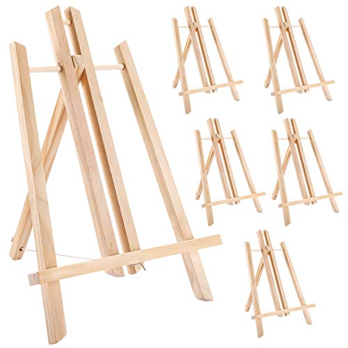 """Jekkis 14"""" Tabletop Easels, 6 Packs Display Wooden Easels, Art Craft Painting Easel Stand for Artist Adults Students Classroom"""